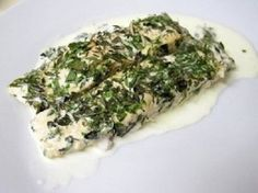Salmon with herbs in cream.