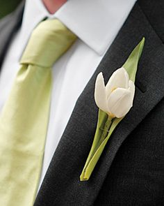 Boutonniere: A single white tulip enveloped in a light-green leaf -- to match his tie -- graces groom David's lapel, a nod to the wedding's springlike feel and palette Tulip Wedding, Green Wedding, Wedding Flowers, Wedding Day, Wedding Colors, Wedding Decor, Boutonnieres, Groom Boutonniere, Succulent Boutonniere