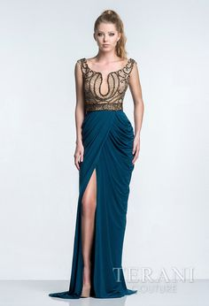 Arabesque evening gown with curvy linear embellished bodice, modified scoop neckline, and pleated wrap skirt.