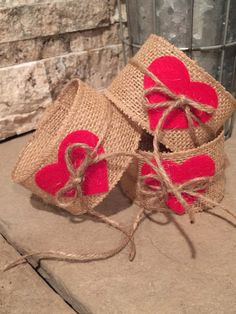 Burlap Candle wrap with red heart and twine by thelittlegreenbean