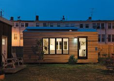 We adore the modern, streamlined look of this miniature abode in Washington, D.C., which boasts a series of rooftop solar panels and a rainwater collection system.