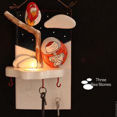 Купить Панно-ключница-подсвечник #34 - зима, Снег, дым, тепло, уют, новый год 2017