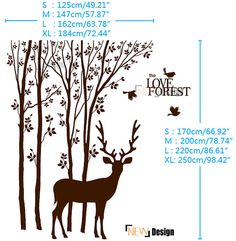 DEER LOVE Forest Large Wall Stickers by DOMOREwallstickers