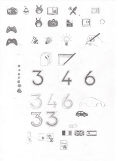 4e étape, mise au propre des pictogrammes choisis. Ensuite on numérise et on nettoie les dessins un à un.