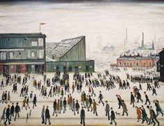 """Going to the Match by Laurence Stephen Lowry 1953 ( People going to watch Bolton Wanderers at Burnden Park. Salford, Banksy, Space Gallery, Art Gallery, Bolton Wanderers, Tate Britain, Spencer, English Artists, Gcse Art"
