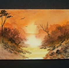 autumn art painting aceo watercolour sunset ref 278 £6.00