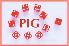 Pig is a simple but addictive famliy dice game that is played iwth a single die. Easy Math Games, Games To Play With Kids, Adult Party Games, Games For Toddlers, Learning Games, Dice Game Rules, Dice Games, Family Card Games, Best Family Games