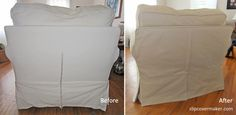 What a difference a new, custom made slipcover makes! slipcovermaker.com