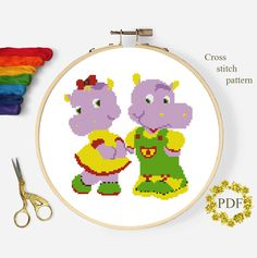Cute Hippos Cross Stitch Pattern Modern, Animal Counted Chart, Nature Xstitch Design Embroidery Baby, Nursery Kids Room Instant Download PDF