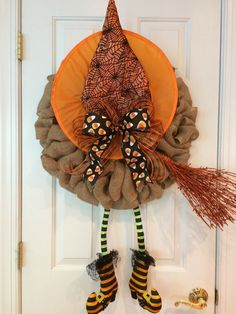 Witch Wreath Natural Burlap Halloween Wreath with by SnappyPea