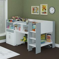 New Single Midi Sleeper Bunk Bed With Desk Cabinet Bookshelves White Silver