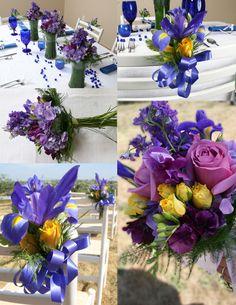 iris with yellow roses