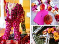 indian wedding centerpieces | Multi hued glass bangles, ornate frames for name cards, zardozi sari ...