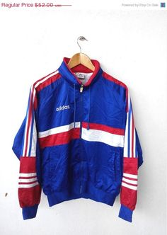 CLEARANCE SALE 25% Vintage 1990's ADIDAS Football France Japan Big Logo World Cup Sweater Jacket Hooded