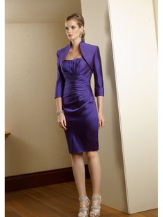 Sheath Strapless Knee Length Long Sleeve Mother of the Bride Dresses Evening / Formal / Wedding Guest Dresses With A Jacket 1101072