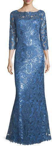 Tadashi Shoji 3/4-Sleeve Floral Paillette Lace Gown https://api.shopstyle.com/action/apiVisitRetailer?id=522192753&pid=uid2500-37484350-28