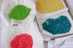 Activities with colored rice to satisfy many different groups.