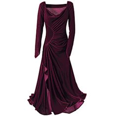 Burgundy Velvet Yule Dress - Gothic Renaissance Medieval Celtic Wiccan Fairy and New Age Womens Clothing Jewelry Gifts & Accessories | Pyramid Collection from pyramidcollection.com