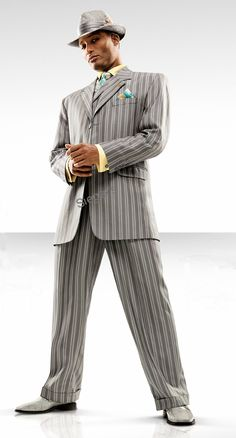 STACY ADAMS®  GREY STRIPE PERRY VESTED SUIT