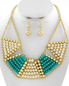 Turquoise & Cream Beaded statement Necklace & Earrings