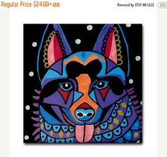 50% Off- Schipperke art Tile Ceramic Coaster Mexican Folk Art Print of painting by Heather Galler Dog