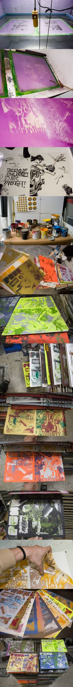 Beautiful compilation of images from a print job. #screenprinting
