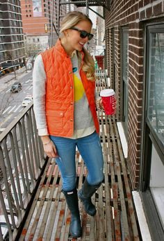 Vest and graphic sweater