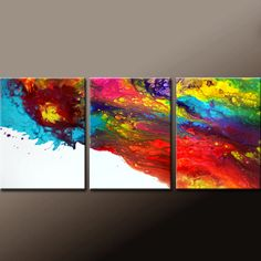 3pc Abstract Art Painting on Canvas 54x24 Original Contemporary Bird art Paintings by Destiny Womack - dWo - Chasing Rainbows by wostudios on Etsy https://www.etsy.com/listing/203920905/3pc-abstract-art-painting-on-canvas