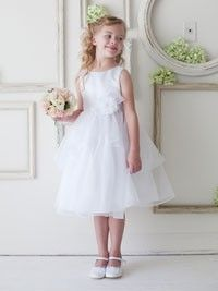 White Sleeveless Satin Bodice with Organza Layer Trim Skirt in Size 2-12 in 4 Colors
