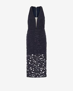 Manning Cartell EXCLUSIVE Lace Sheath Dress: Truly an exclusive lace design crafted to form a fitted dress. The sleeveless bodice has a V mesh detailing at the front. Zipper closure at back. Center slit at front hem. Semi sheer. Lined. In a royal navy.   Fabric: 100% cotton embroidery/100% nylon ...