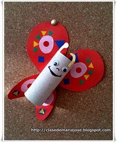 Manualidades con material reciclado : Mariposa - Plástica