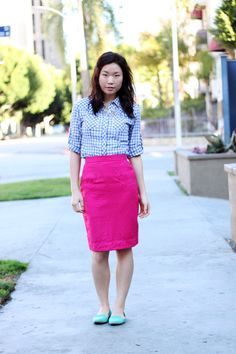 I like the idea of such a vibrant pencil skirt- a piece that's usually a dull one!