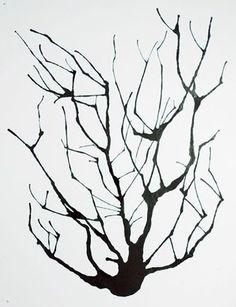 Tree: India ink, straw, watercolor paper- like in elementary school