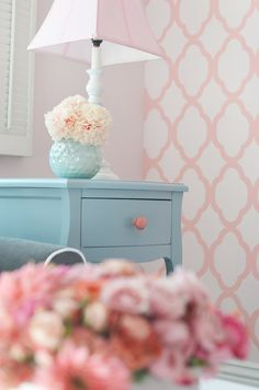 Treasured Editions   Crepe Paper Carnation (but it's the wallpaper i'm crushing on. pink & turquoise/aqua)