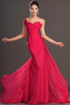 Elegant One Shoulder Trumpet/Mermaid Sweep/Brush Train Evening Dress 10847226 - Evening Dresses 2014 - Dresswe.Com
