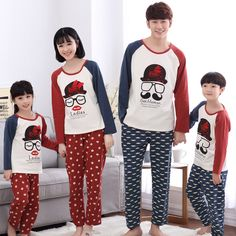 Kiqoo 2016 Autumn Long Sleeve 2 pcs Pajamas Set Cute Cartoon Parent-child Pajamas Set Family Matching Clothing Set