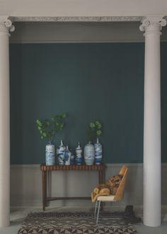 Farrow and Ball's Inchyra Blue; a warm toned dark blue