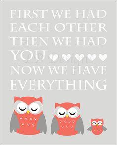 Gray and Coral Owl/Woodland Nursery Quote Print  8x10 by LJBrodock, $10.00 Girl Nursery Decor, Girl Owl Nursery, Girl Woodland Nursery, Nursery Art
