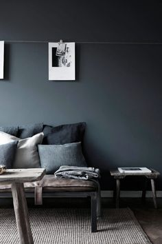 A beautiful apartment interior can be in many styles. When decorating a living space like an apartment there are things to consider which will be able to make the most of the space. Dark Gray Bedroom, Grey Bedroom Paint, Dark Grey Walls, Black Walls, Wall Paint Colors, Grey Wall Color, Gray Interior, Apartment Interior Design, Gray Painted Walls