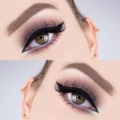 taupe cat eye w/ liner @itsgenesys, winged on inner + outer corner + wing underneath the inner corner #makeup neutral sultry smokey
