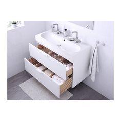 GODMORGON / BRÅVIKEN Sink cabinet with 2 drawers - white - IKEA