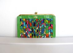 SOLD / #Vintage 1960s Mod / Princess Gardner Green Leather & Multi colored Cotton Wallet by VelouriaVintage $12.00