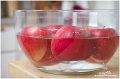 fruit and veggie rinse: 1 cup water, 1/2 cup white vinegar. Mix together and submerge fruit and veggies. Swish for at least 30 seconds and then run under cool running water for another 15-30 seconds.