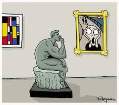 "Parody of a Mondrian Piece, ""The Scream,"" and ""The Thinker"" Le Cri Munch, Scream Parody, Rodin The Thinker, Mundo Comic, Classic Paintings, Famous Art, Mondrian, Cultura Pop, Funny Cartoons"