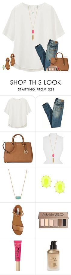 """Spring Days☀️"" by maggie-prep ❤ liked on Polyvore featuring Uniqlo, American Eagle Outfitters, Michael Kors, Kendra Scott, Steve Madden, Urban Decay and Too Faced Cosmetics"