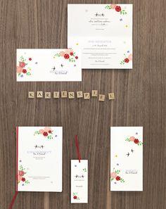 Blumiges Vintage-Design - Papeterie, Hochzeitspapeterie, Karten, Einladung, Kirchenheft, Danksagung, Save-the-Date, Menü, Programmheft, Hochzeitszeremonie