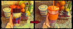 Smoothie: banana, strawberries, blueberries, orange, yogurt