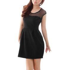 $9 Allegra K Ladies A Line Heart Sheer Mesh Upper Slipover Mini Dress Black XSFrom Allegra K $9