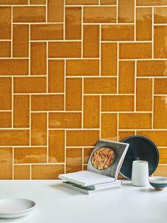 Pellezzano Mustard glazed tile shown on the wall Best Tiles For Kitchen, Kitchen Tiles Design, Kitchen Wall Colors, Kitchen Wall Tiles, Wall And Floor Tiles, Kitchen Backsplash, Mustard Kitchen, Disco Floor, Mustard Walls