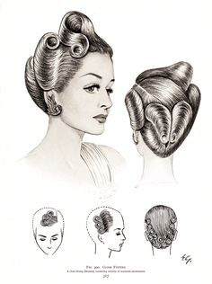 """retrowunderland: Vintage Pin Up Hairstyles From """"The Art and Craft of Hairdressing"""